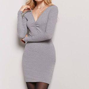Long Sleeve Gray Mini Dress